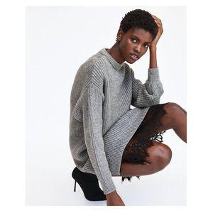 c2f0743f26a3 Zara Dresses | Oversized Sweater Dress W Lace Trim Slip | Poshmark